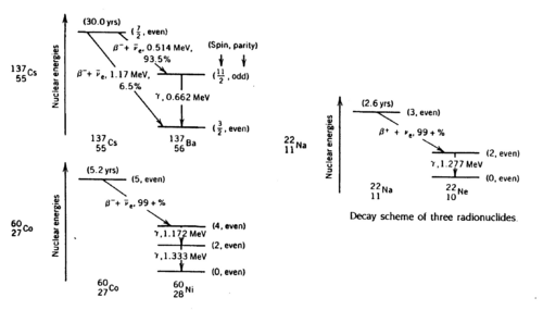 Decay schemes of Cs-137,